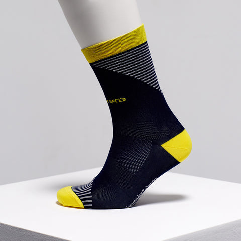 Navy and yellow cycling socks