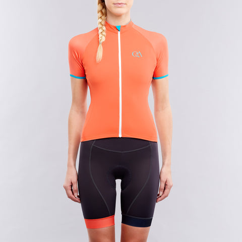 Orange Women's cycling top on OMNIUM
