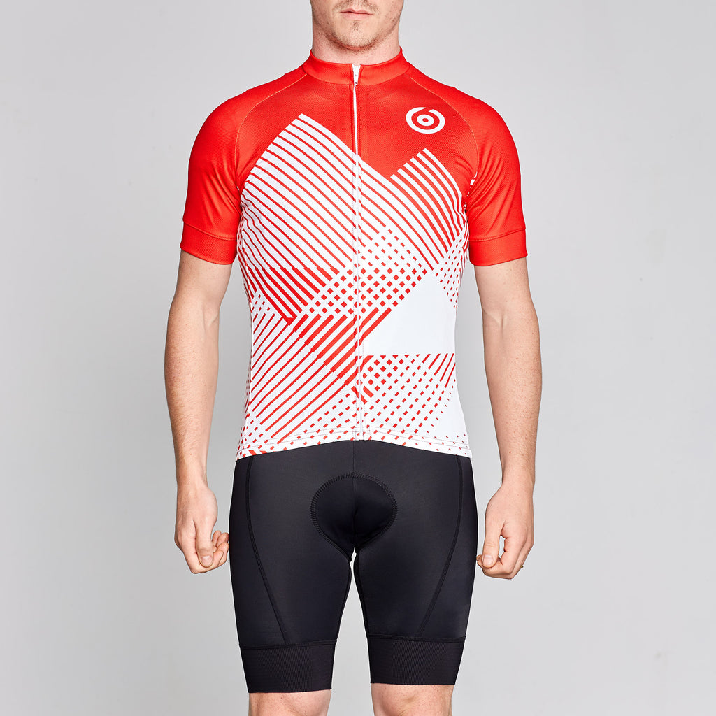 red and white retro style cycling jersey