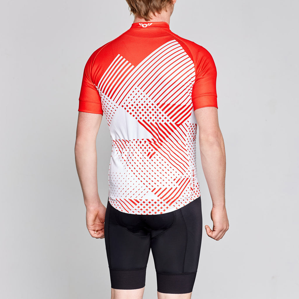 red and white twin six retro style cycling jersey