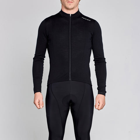 black merino wool long sleeve cycling jersey