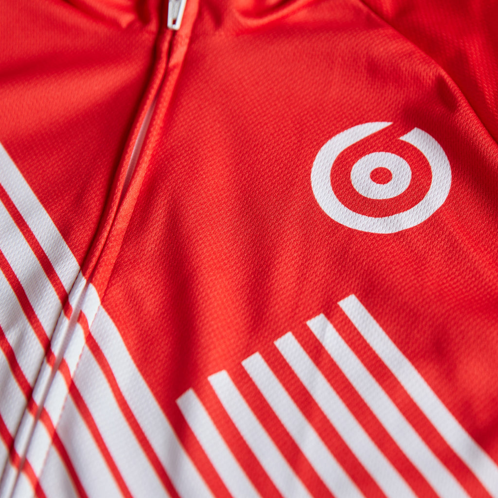 red and white retro style cycling jersey by twin six