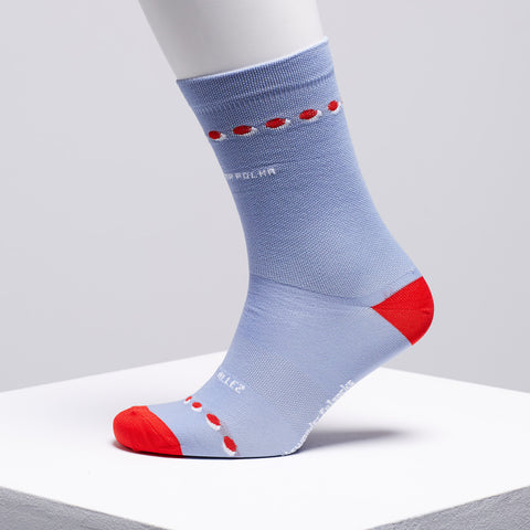 red polka dot cycling socks