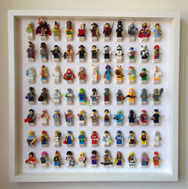 77 Lego Minifigures White frame display