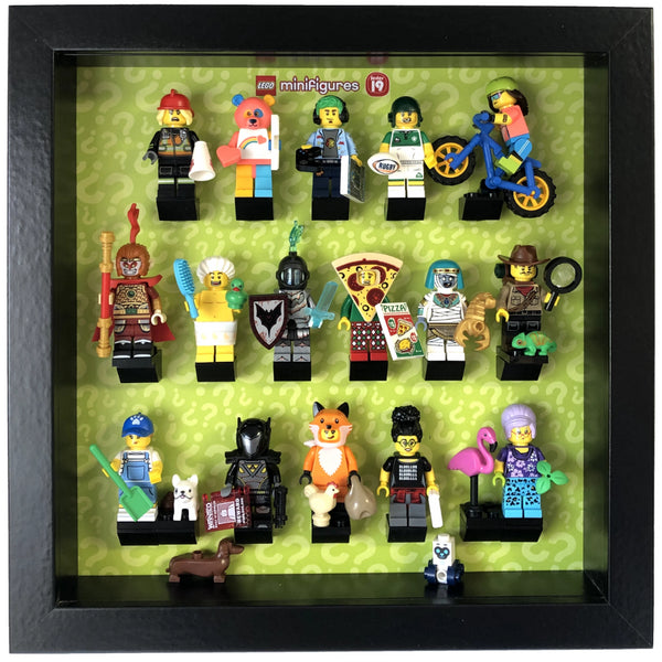 Lego Mini Figures Display Case Frame Black Lime Green Brick