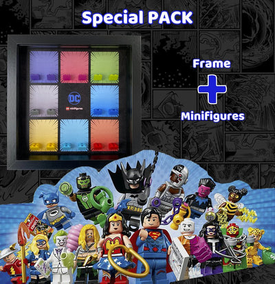 Special Pack: DC Super Heroes Lego Minifigures Complete Collection + Frame