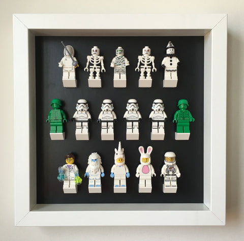 Custom Lego Minifigures black edition white frame display