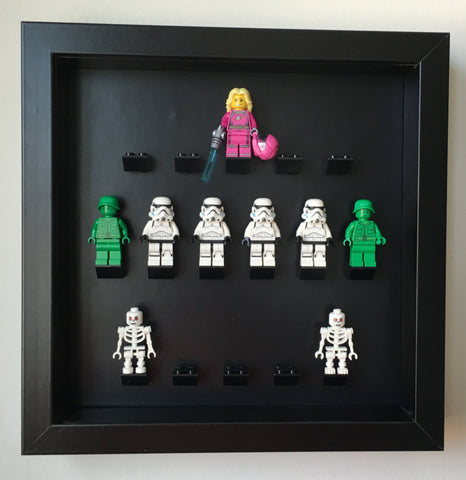 Custom Lego Minifigures black edition black frame display