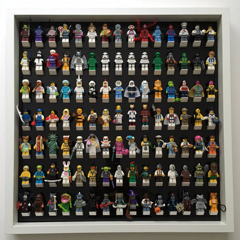 105 Lego Minifigures black edition white frame display
