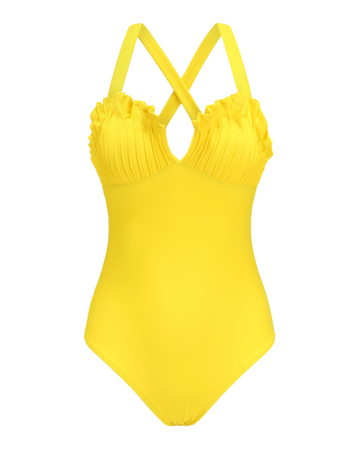 Shell Swimsuit in Aquaholic Yellow
