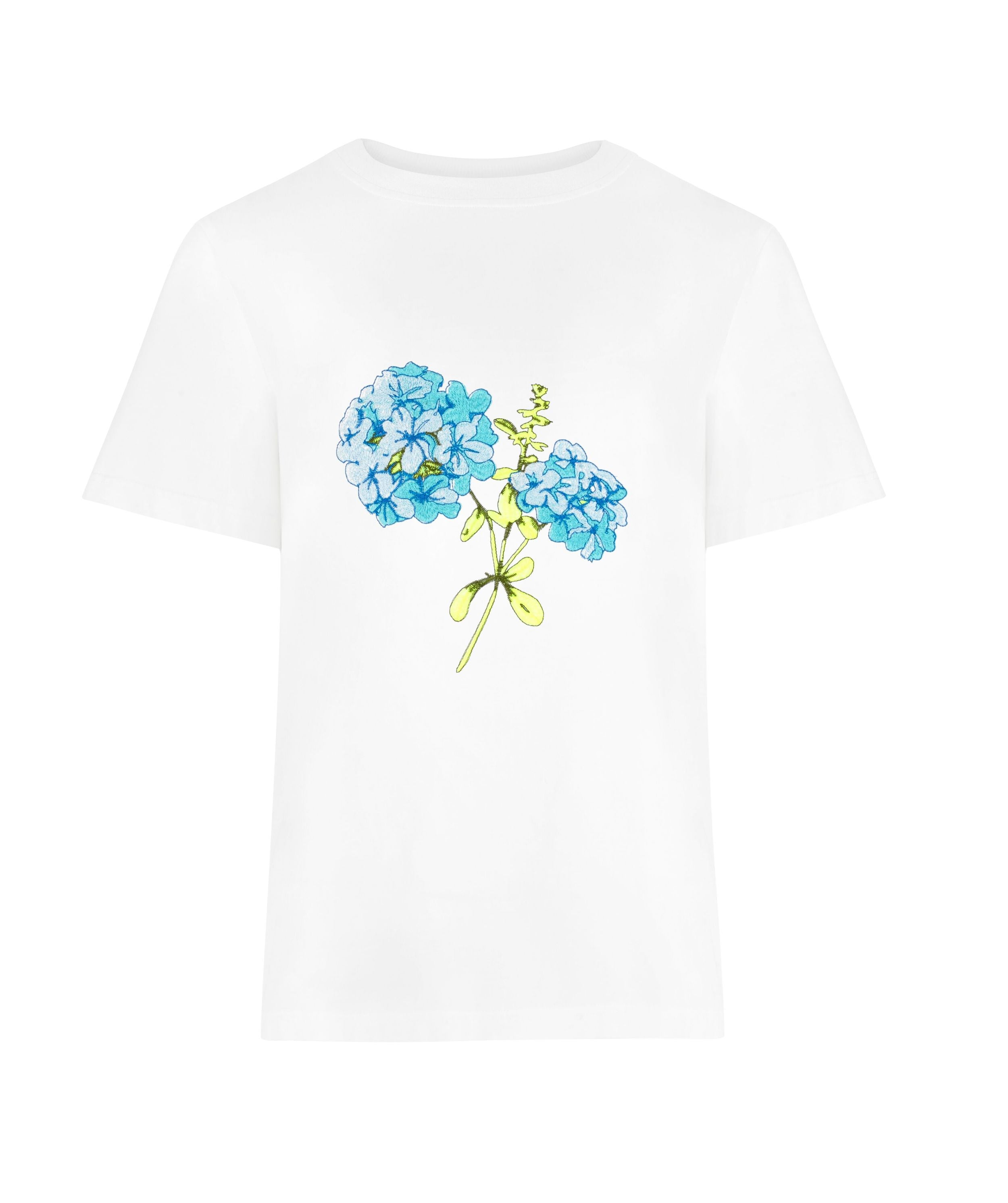 Blue Hydrangea Tee in White