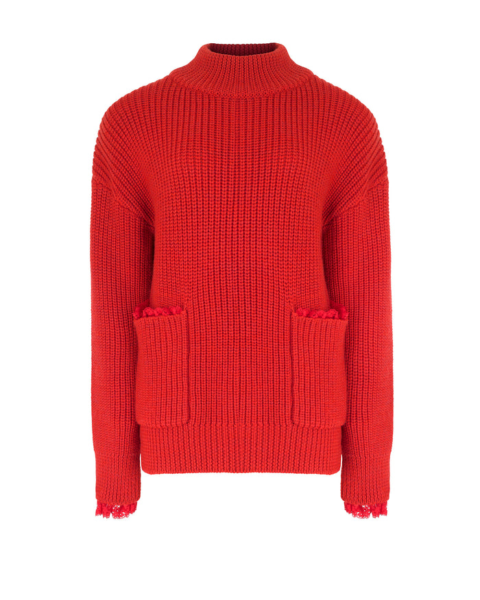 Pocket Jumper in Red Knit