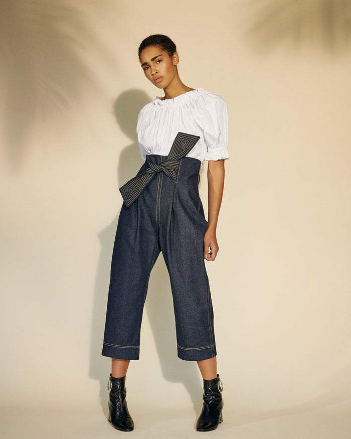 Cropped Twin Trousers Denim