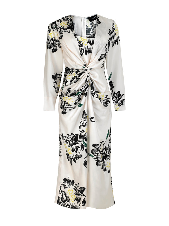 Monday Dress Floral Print Silk Ivory and Black