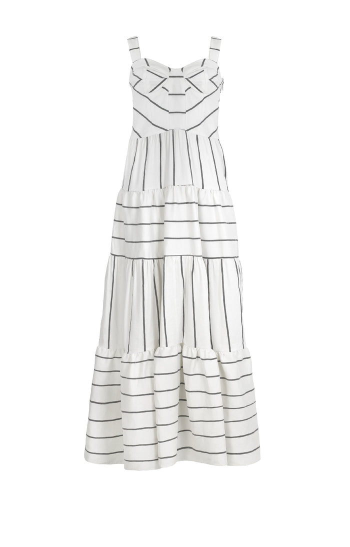 Porto Dress Linen Stripe
