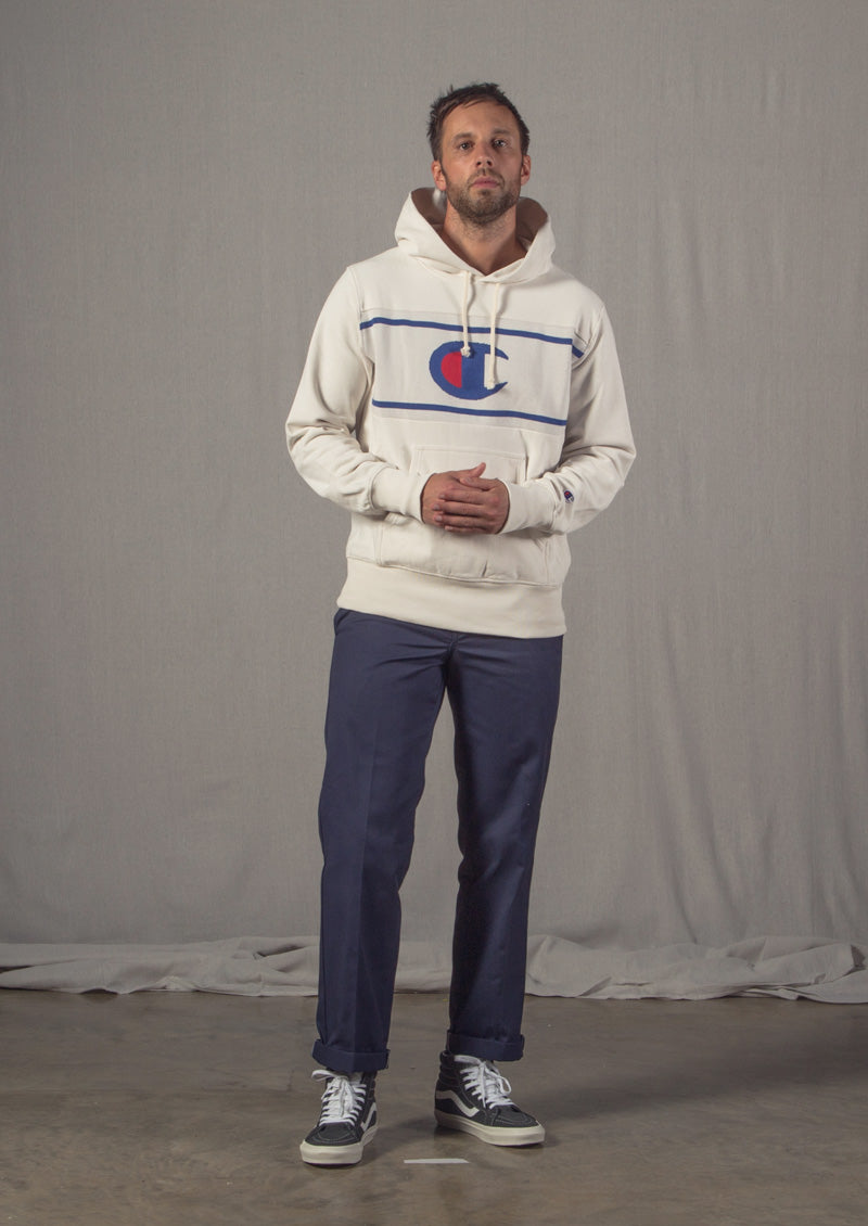 Champion Reverse Weave, Vans Sk8-Hi, Dickies 873 Work Trousers, Good Worth & Co T Shirt