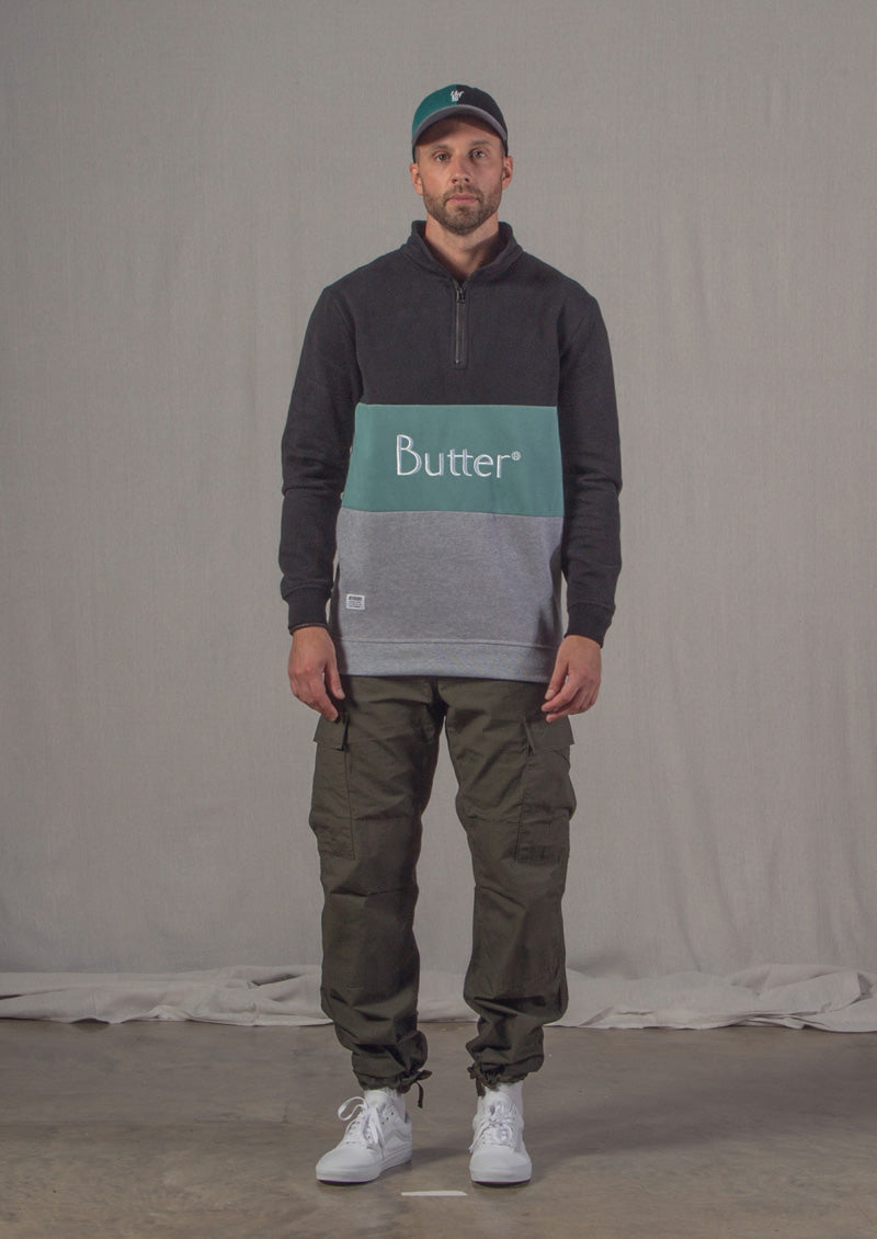 Butter Good 1/4 Zip, Carhartt Cargo Pants, Vans Old Skool,