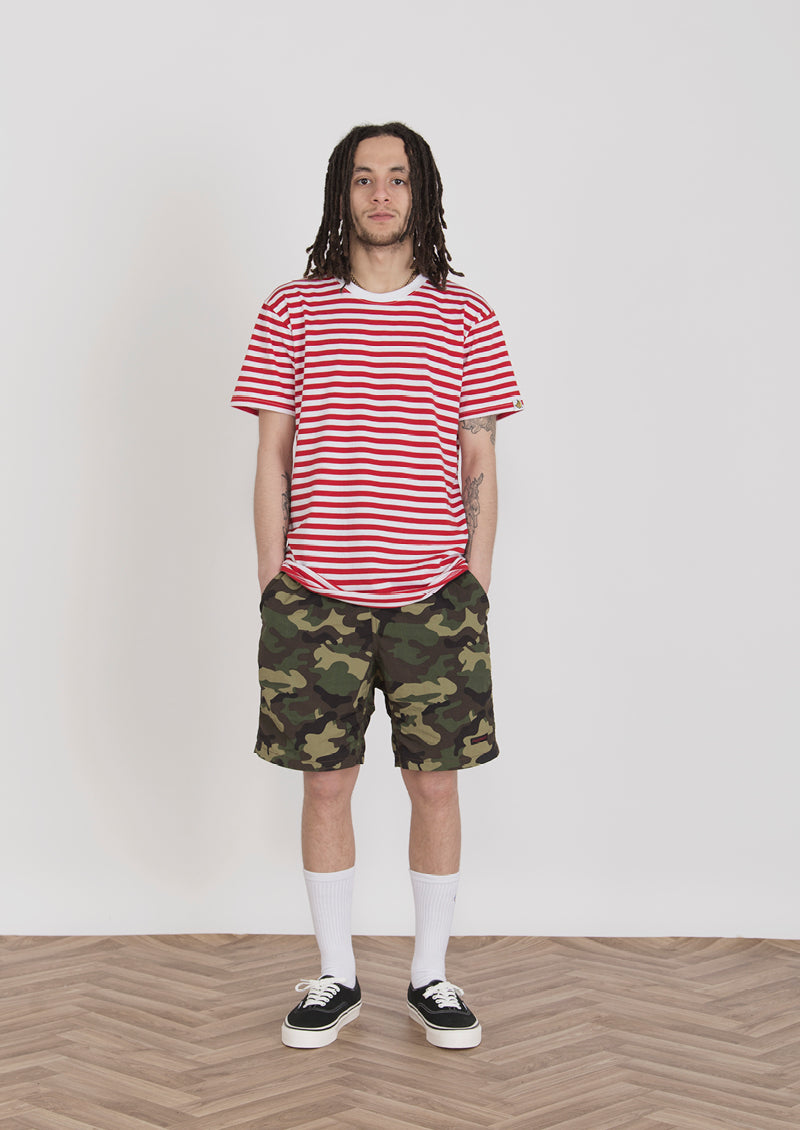 Chimp Basic Stripe Tee, Vans Authentic Trainers, HUF Camo Shorts,