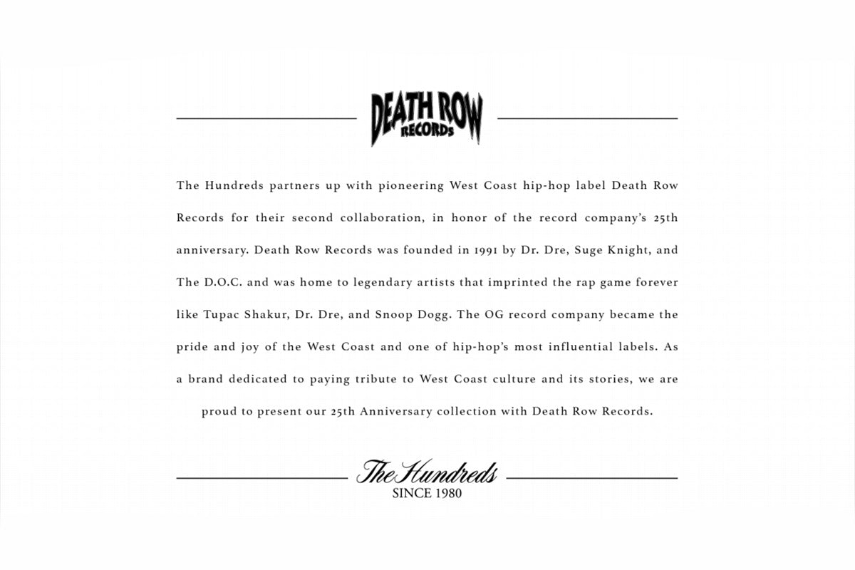 The Hundreds X Death Row Records launches this Friday!