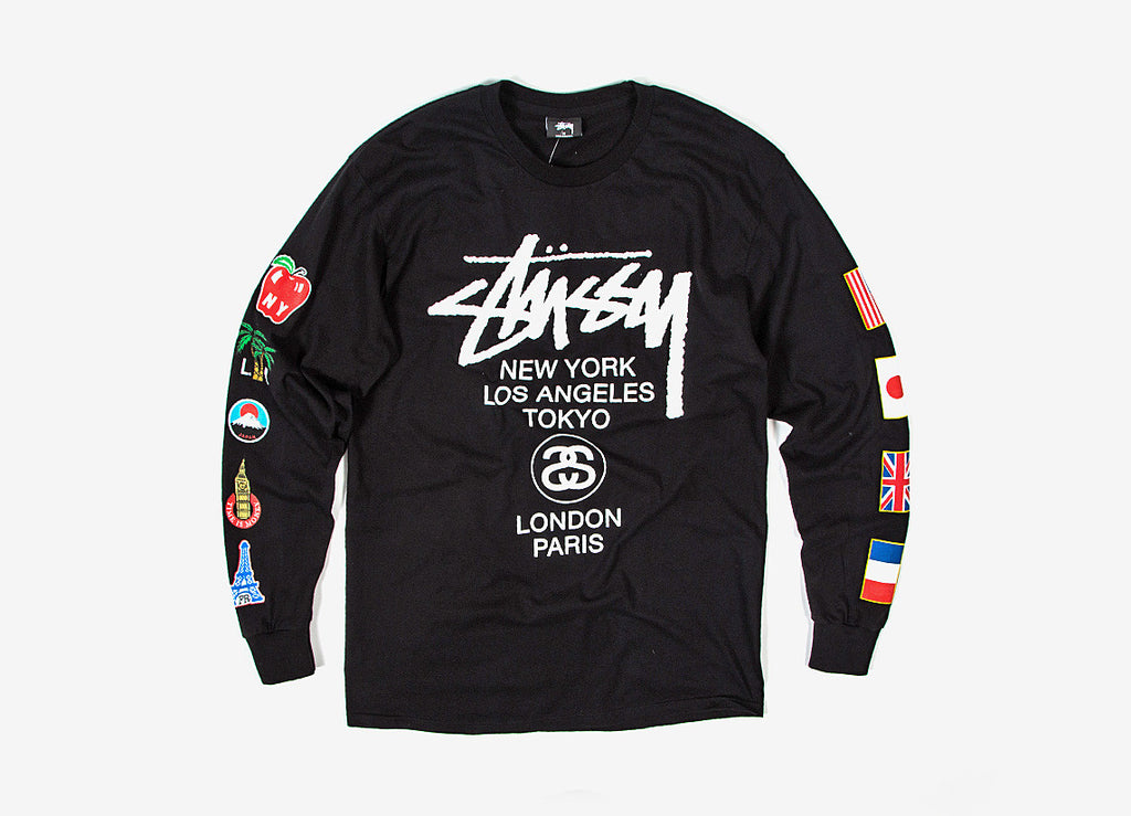 Stussy WT Flags L/S T Shirt - Black