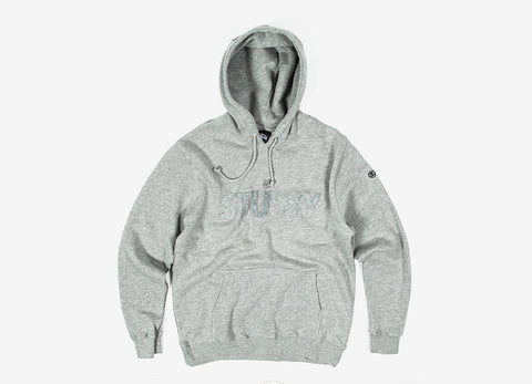 Stussy Tonal Felt Pullover Hoody - Heather Grey