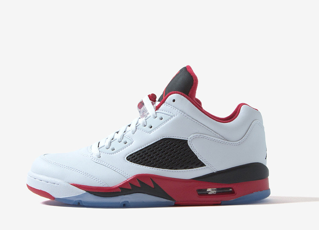 Air Jordan V Retro Low Fire Red Shoes - White/Fire Red-Black