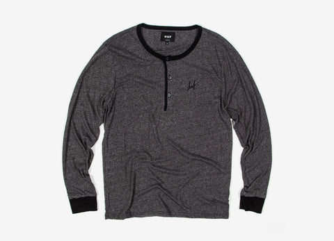 HUF Mock Twist L/S Script Henley - Charcoal Heather