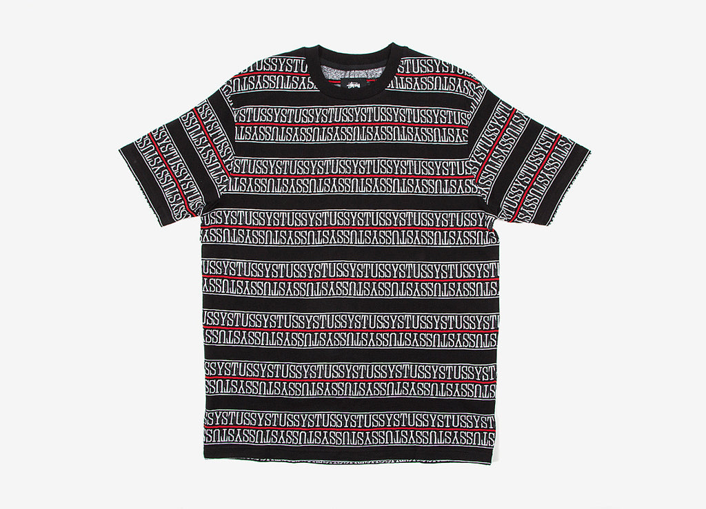 Stussy Stripe Crew T Shirt - Black