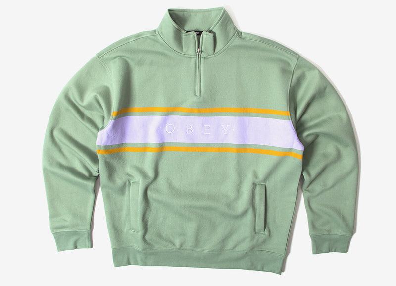 Obey Gaze Mock Neck 1/4 Zip Sweatshirt - Light Sage