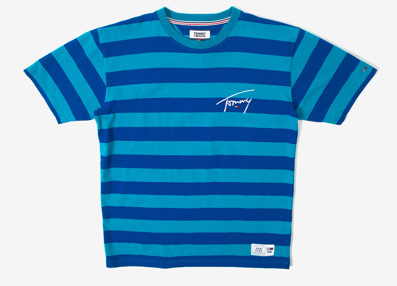 Tommy Jeans Signature Stripe T Shirt - Enamel Blue/Surf The Web