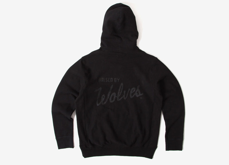Raised By Wolves Distressed Varsity Pullover Hoody - Black