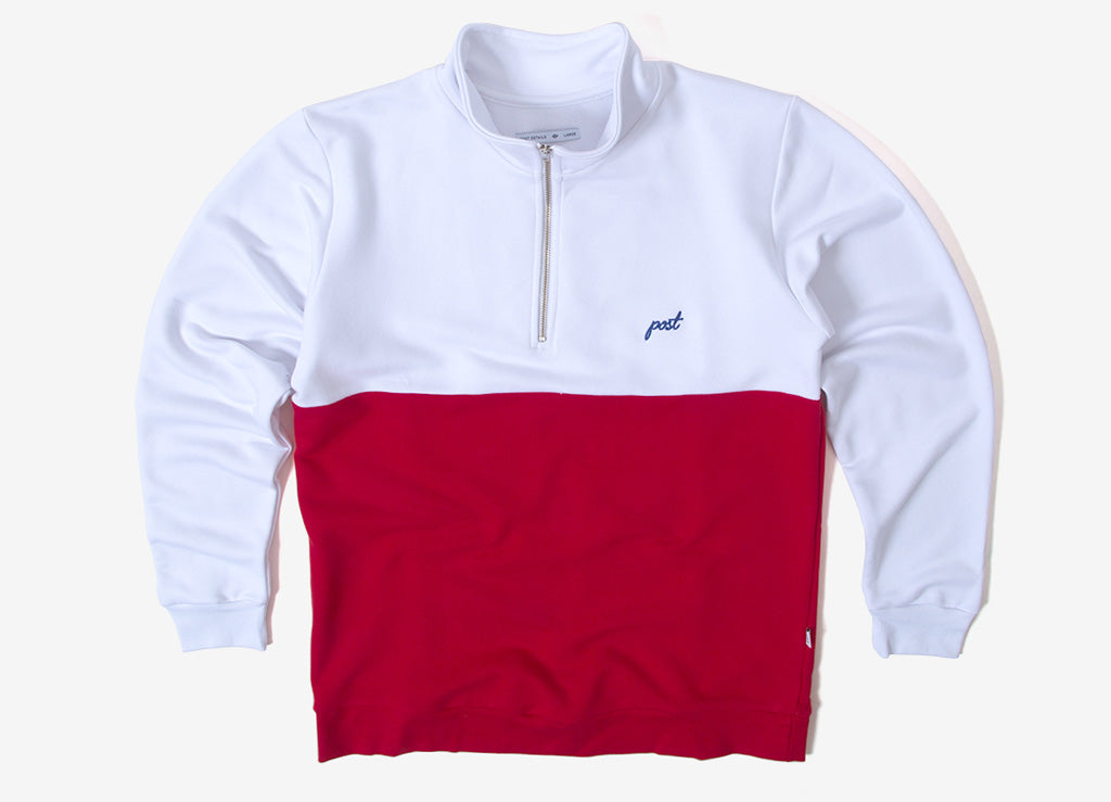Post Details Shuffleboard Half Zip Pullover - Red/White
