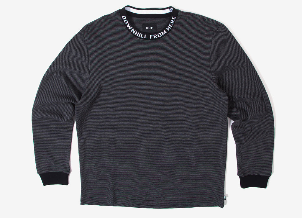 HUF Downhill Stripe Long Sleeve T Shirt - Black