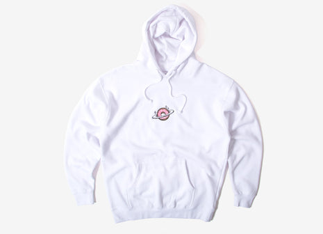 Skateboard Cafe Planet Donut Embroidered Pullover Hoody - White