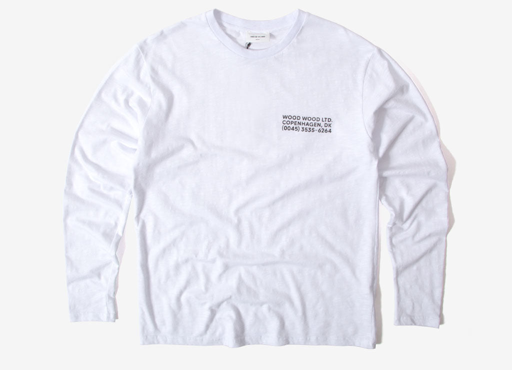 Wood Wood Peter Long Sleeve T Shirt - Bright White