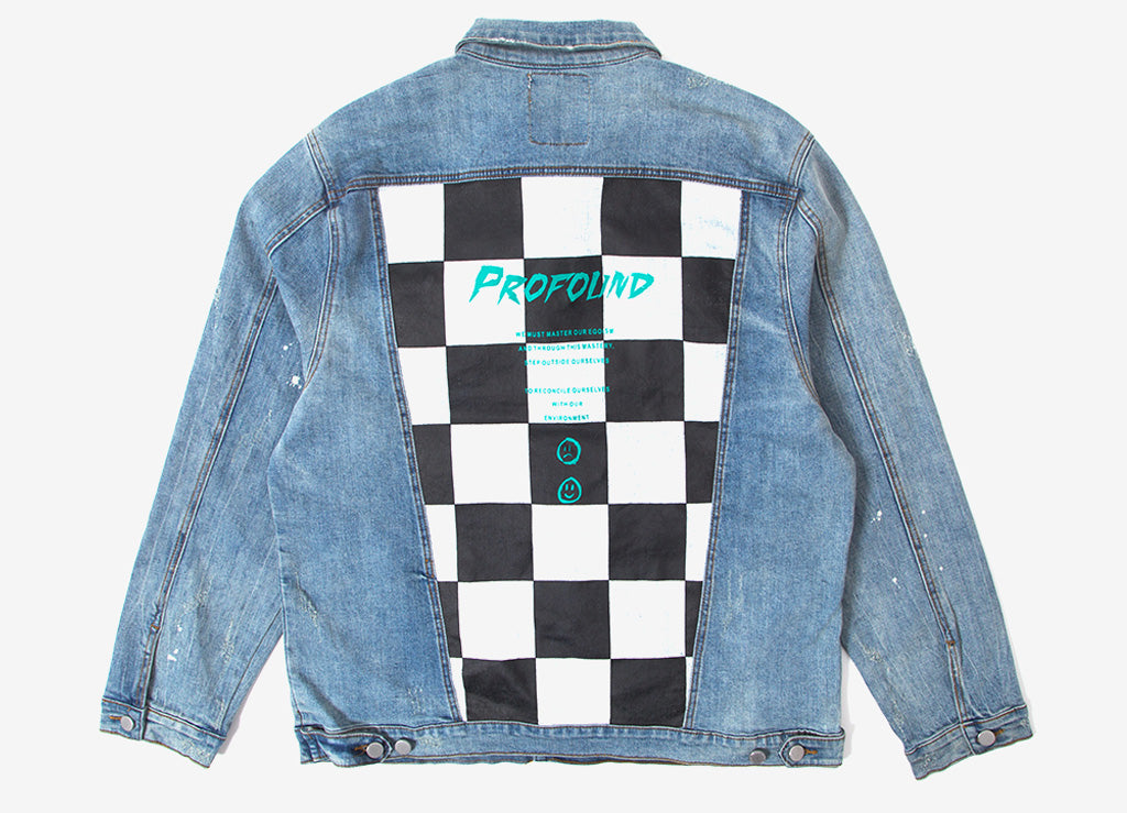 Profound Aesthetic Misfit Checkered Denim Jacket - Light Acid Wash