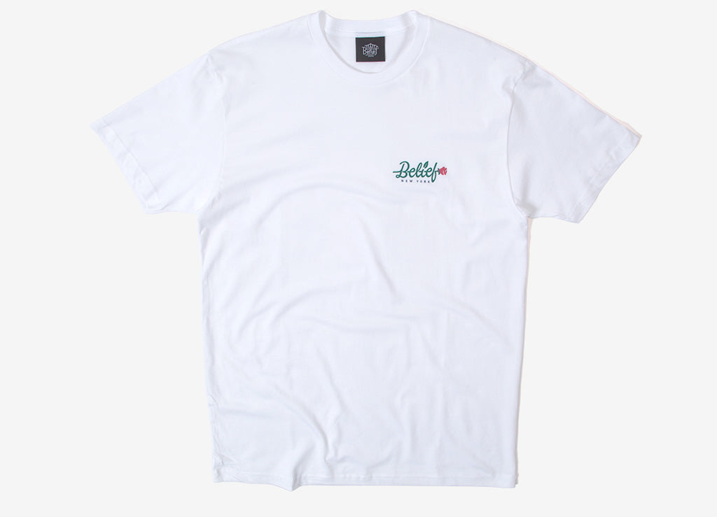 Belief Rose T Shirt - White