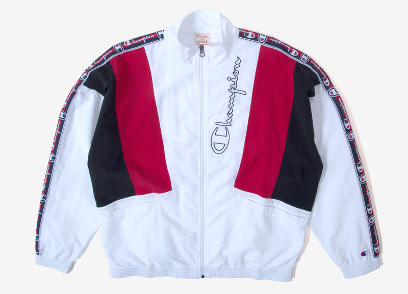 Champion Reverse Weave Full Zip Track Top - White/Red