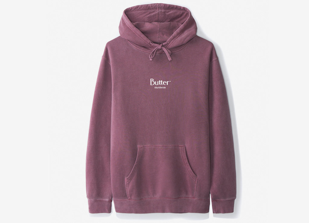 Butter Goods Micro Logo Pullover Hoody - Maroon