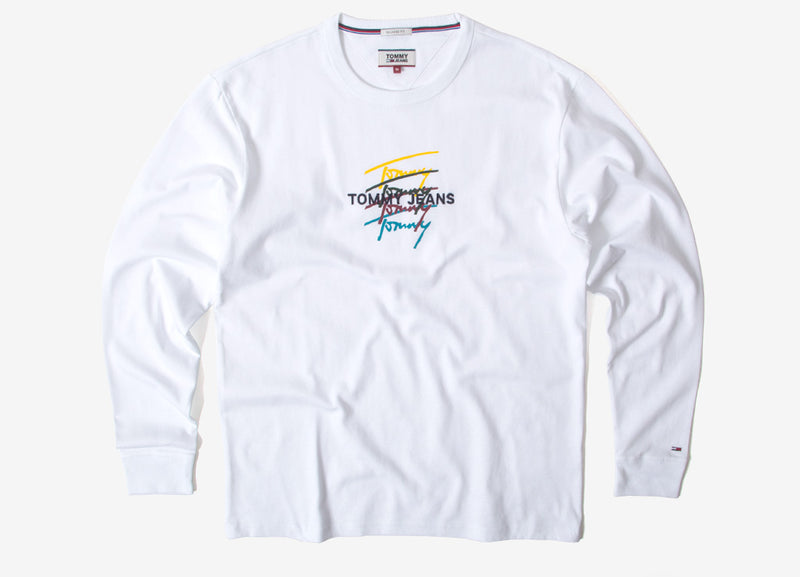 Tommy Jeans Classic Repeat Signature LS T Shirt - Classic White