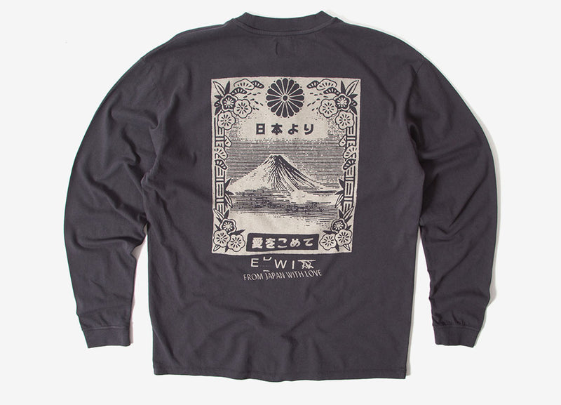 Edwin From Mt Fuji Long Sleeve T Shirt - Ebony Garment Washed