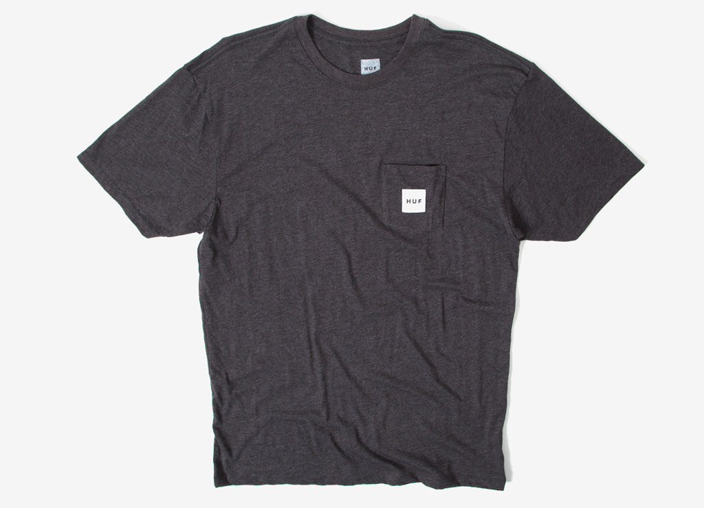 HUF Box Logo Pocket T Shirt - Charcoal Heather