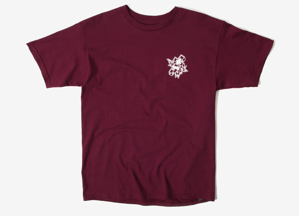Brixton Cruz T Shirt - Burgundy