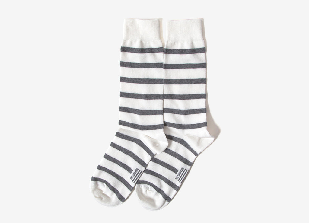 Armor Lux Striped Socks - Milk/Slate