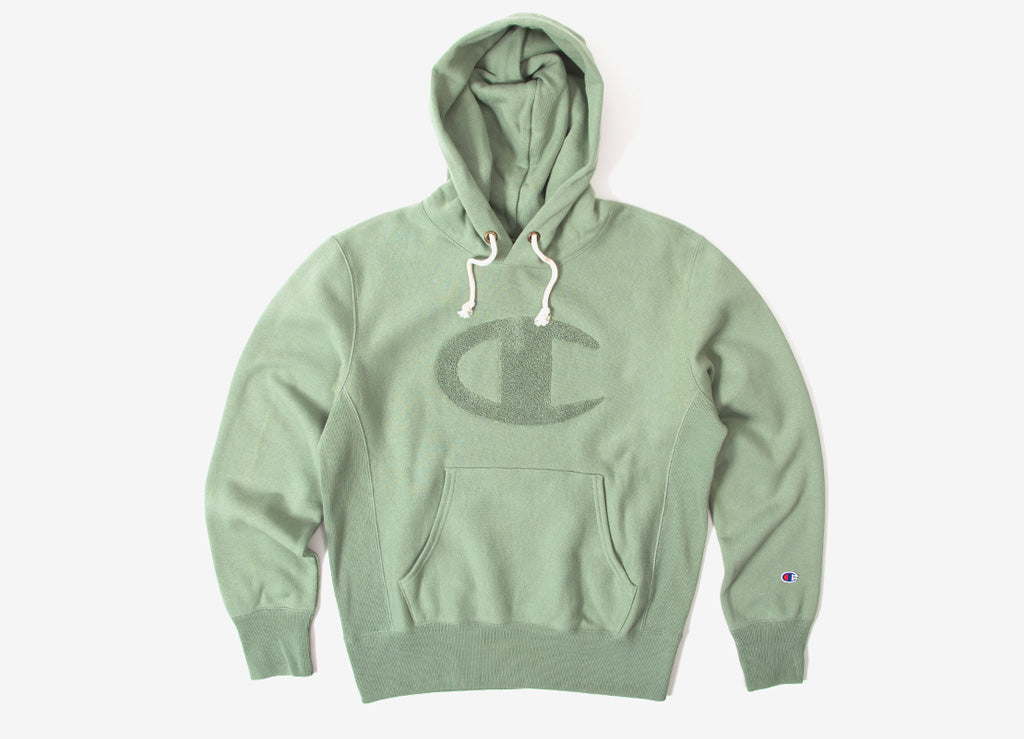 Champion Reverse Weave Chenille Pullover Hoody - Light Green