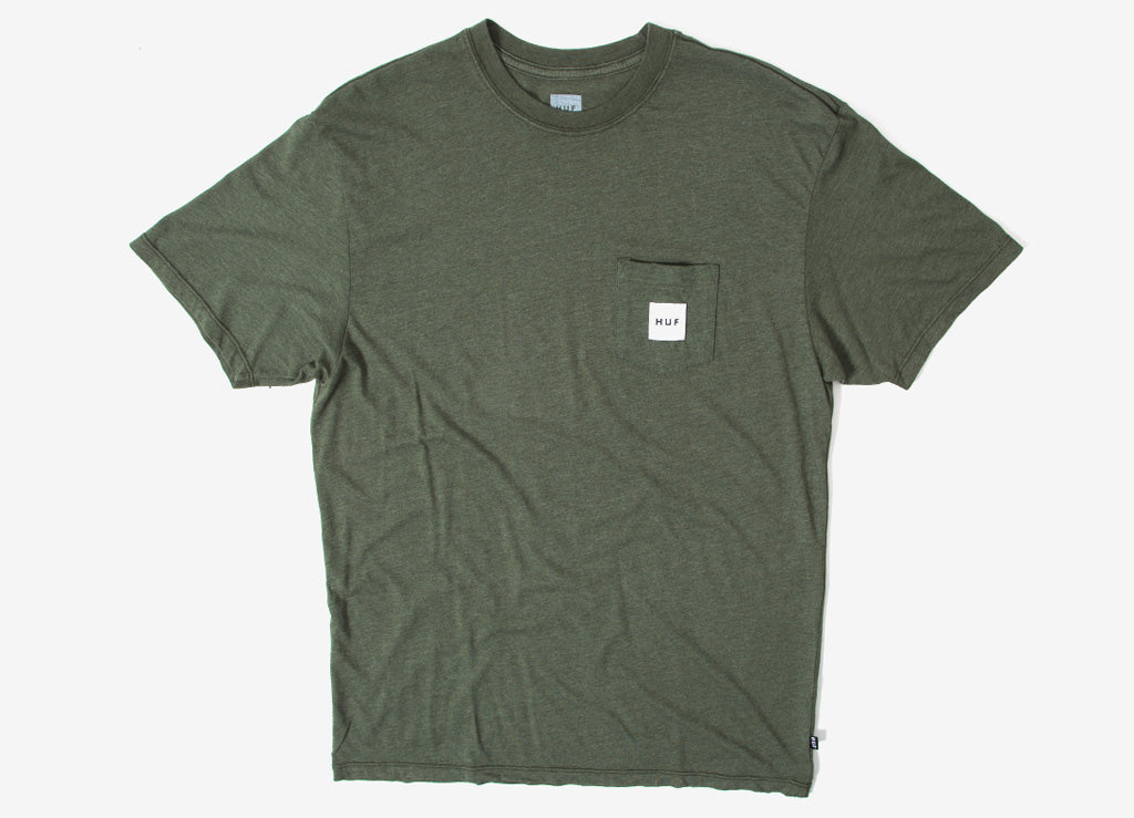 HUF Box Logo Pocket T Shirt - Military Green
