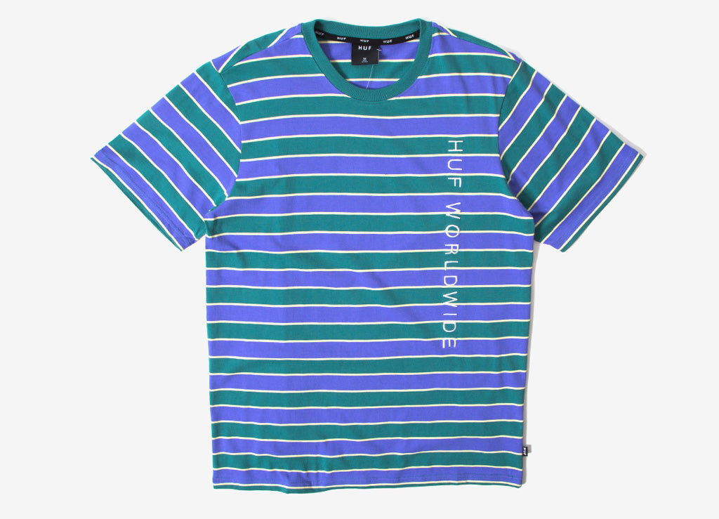 HUF Lexington Stripe T Shirt - Blue Iris