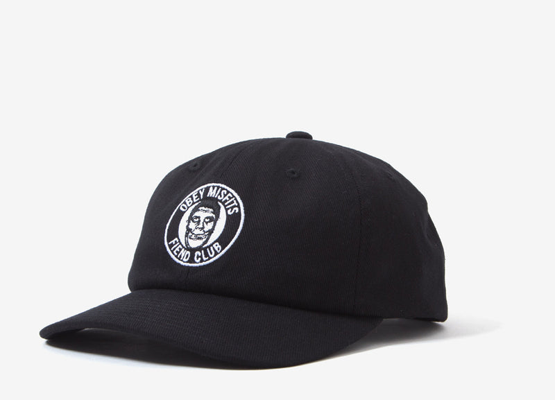 Obey x The Misfits Fiend Club 6 Panel Cap - Black