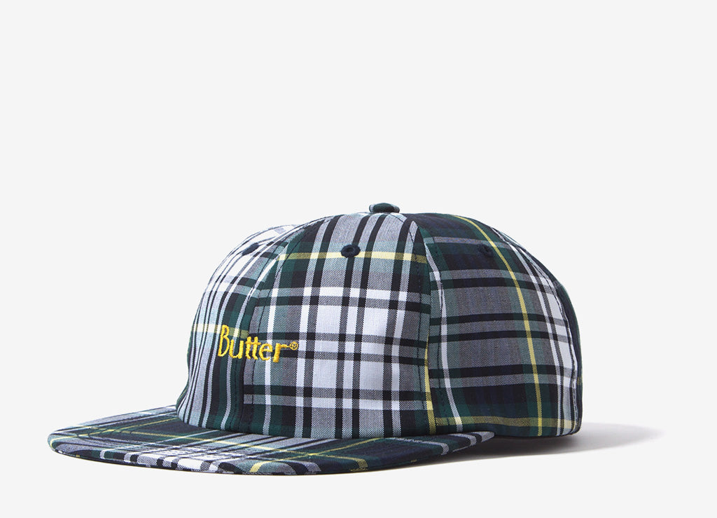 Butter Goods Plaid 6 Panel Cap - White