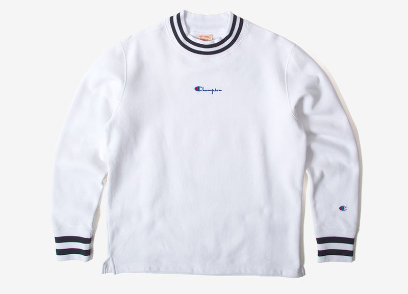 Champion Reverse Weave High Neck Crewneck Sweatshirt - White